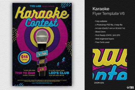 Karaoke Party PSD flyer templates, room, bar, contest, Open mic
