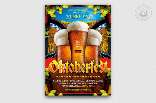 Oktoberfest Flyer Template V7, Beer party flyers psd to download