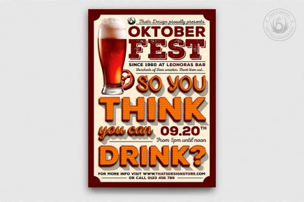 Oktoberfest Flyer Template V9, beer party psd flyers