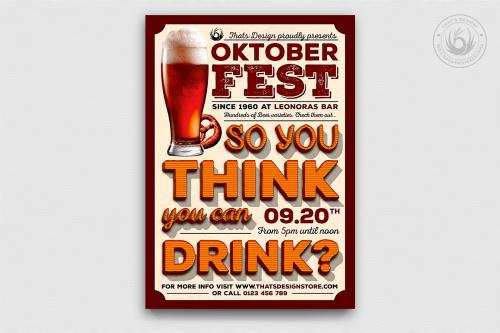 Oktoberfest Flyer Template V9, beer party psd flyers