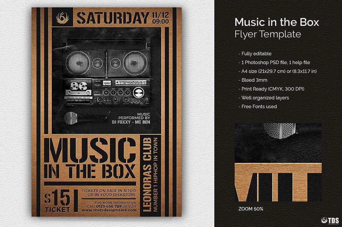 Music in the box Flyer Template Psd Download