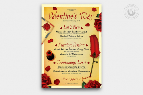 Valentine's day Menu Template psd download V5 Psd download to customize with photoshop