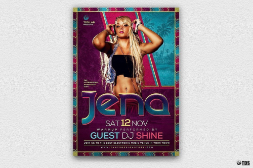 Dj Session Flyer Template psd download design V3, Electro party in nightclub