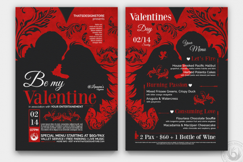 Valentines Day Flyer + Menu Bundle V6