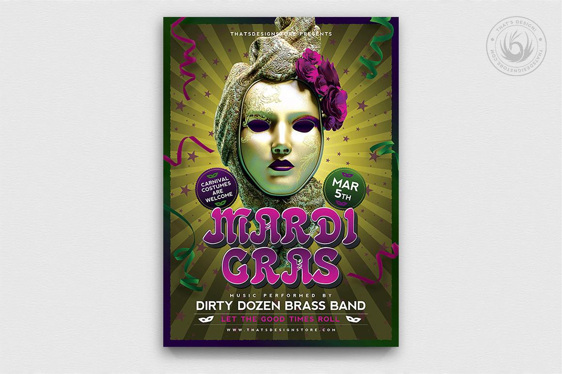 Mardi Gras Flyer Template Carnival flyer Psd DownloadV2