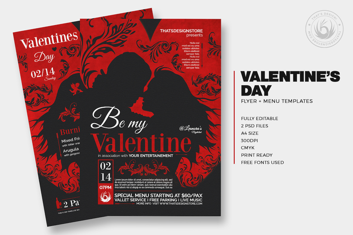 valentine u0026 39 s day flyer and menu template for photoshop v 6