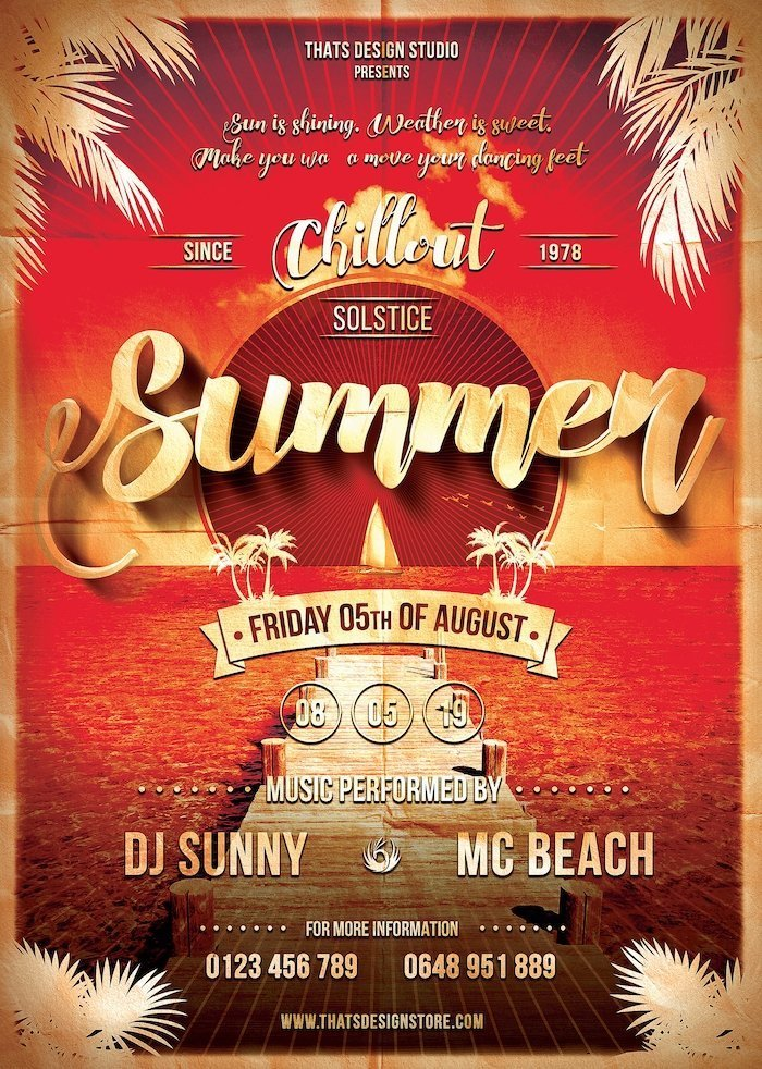 Summer beach Flyer Template psd for any beach party, club or bar event. Pool or garden party with Dj set mixing chillout, lounge music for sunset