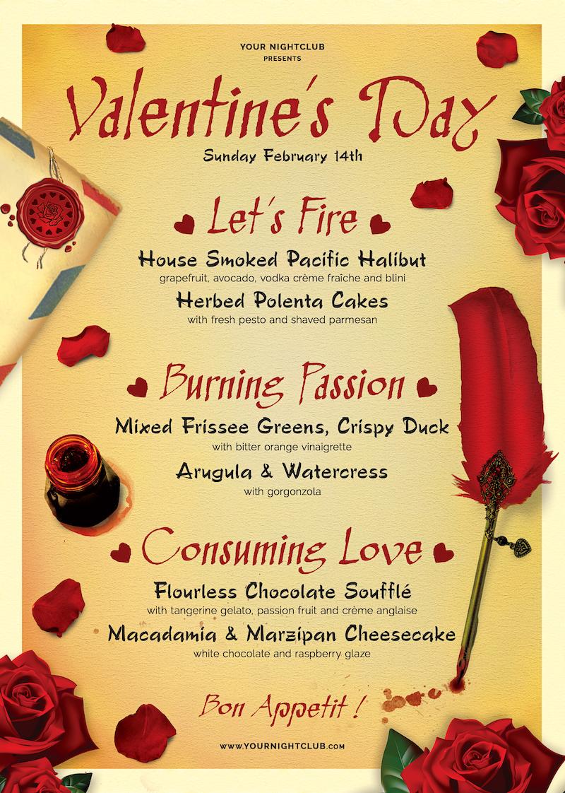 Valentine's day Menu Template psd download V5