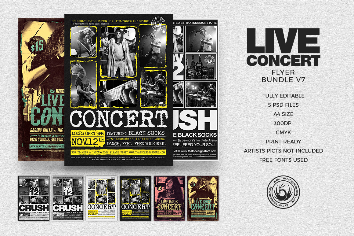 Live Concert Flyers posters Templates bundle, Alternative band, Indie pop rock festival psd