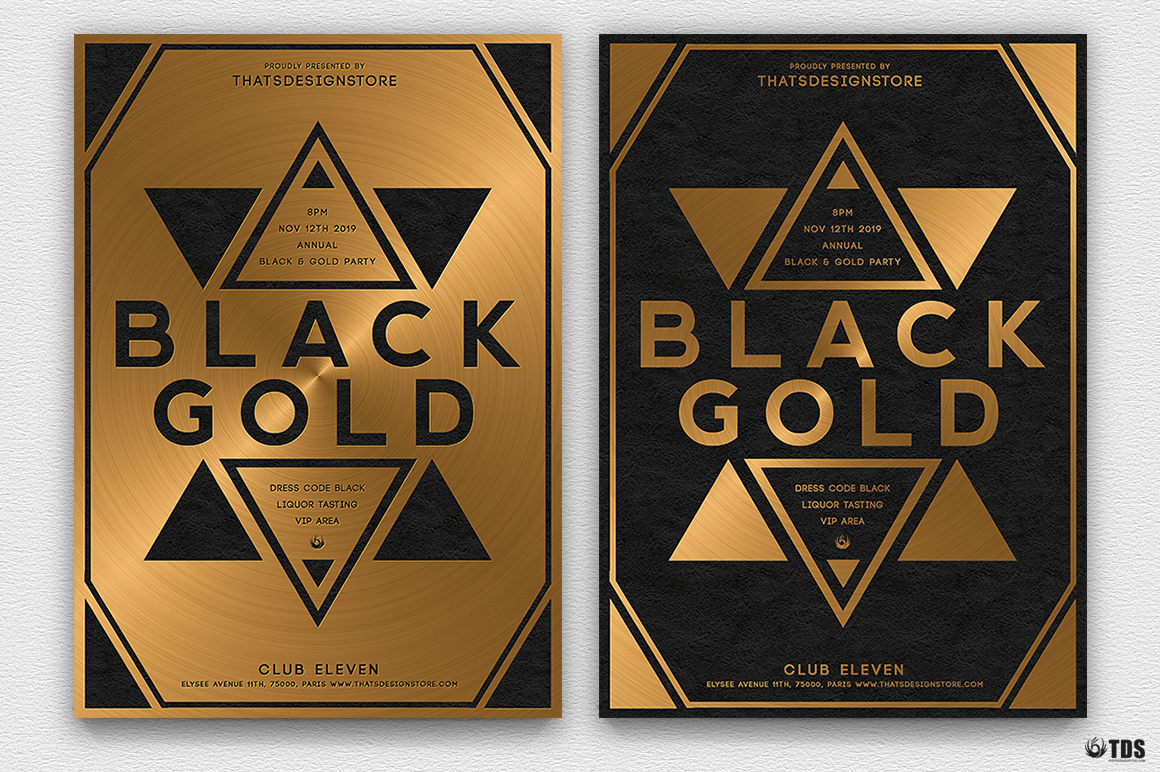 Minimal Black & Gold Flyer Template PSD download V5, cigare lounge, luxury event