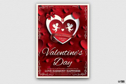 Valentine's Day Flyer Template Psd download V3 Psd download to customize with photoshop