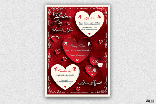 Valentine's Day Menu Flyer Template Psd Design V1 Psd download to customize with photoshop