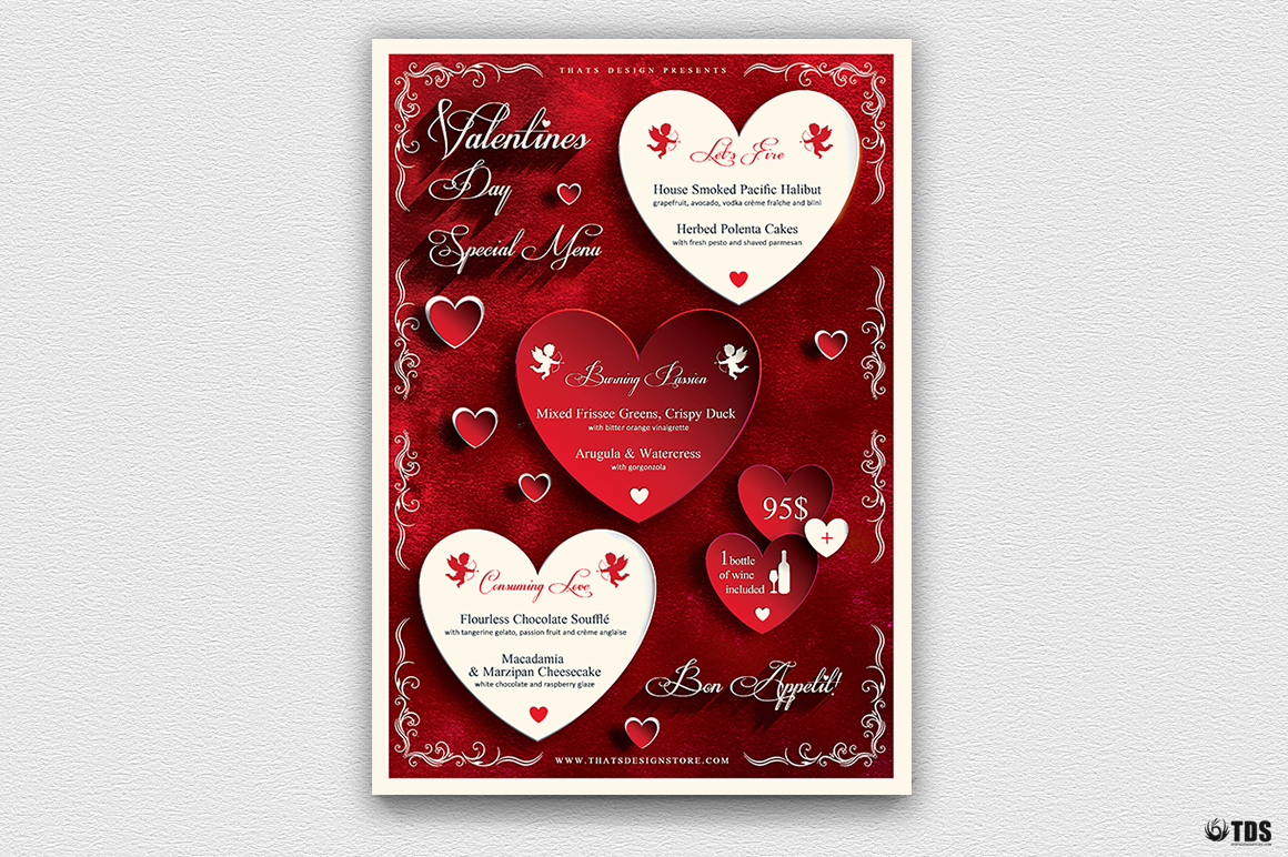 valentines day flyer template psd design for photoshop v1