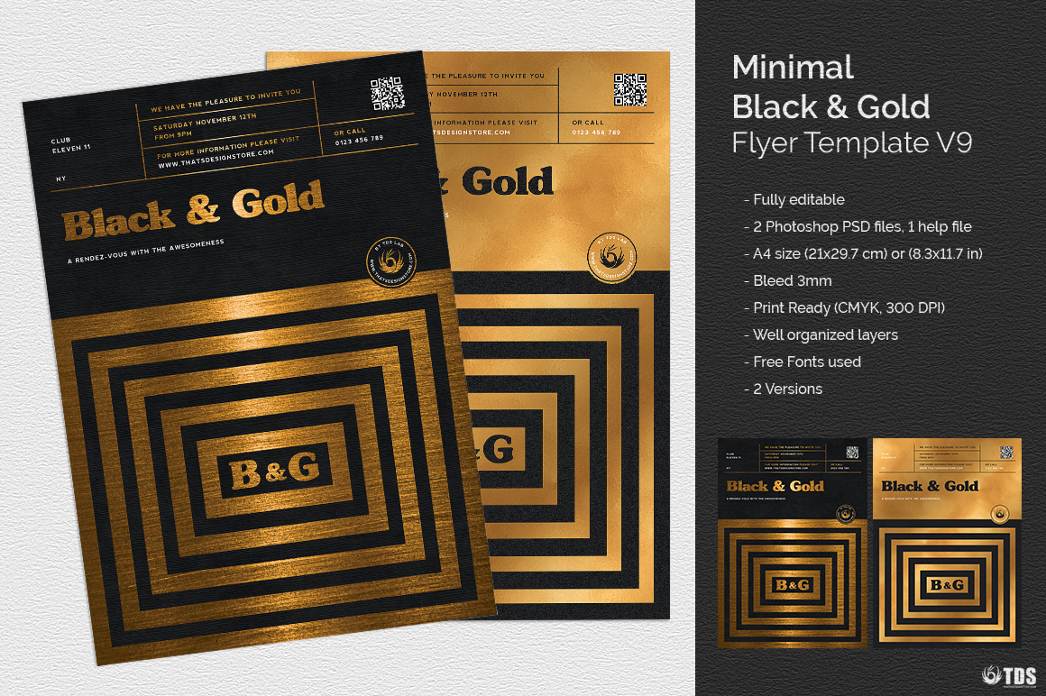 Minimal Black & Gold Flyer Template PSD download V9, cigare lounge, luxury event