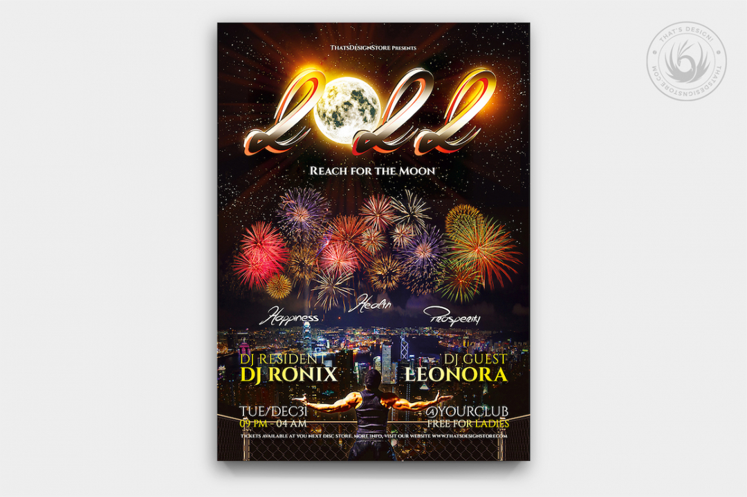 New Year Flyer Template psd for photoshop V1