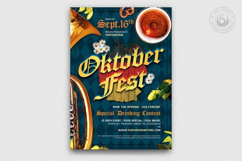 Oktoberfest Flyer Psd Template design V10
