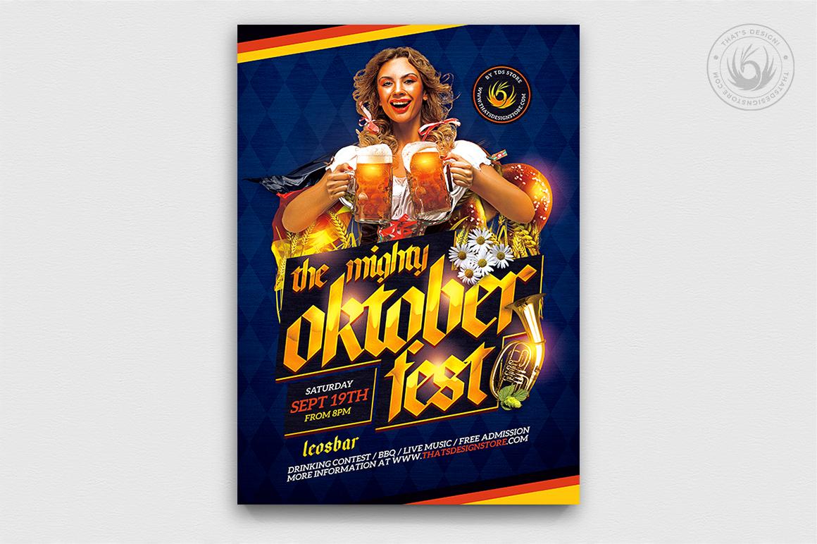 Beer Party Oktoberfest Flyer PSD Template design V11