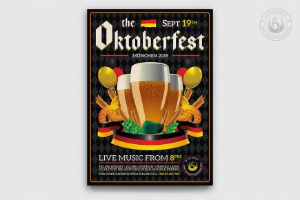 Beer Party Oktoberfest Flyer PSD Template design V12