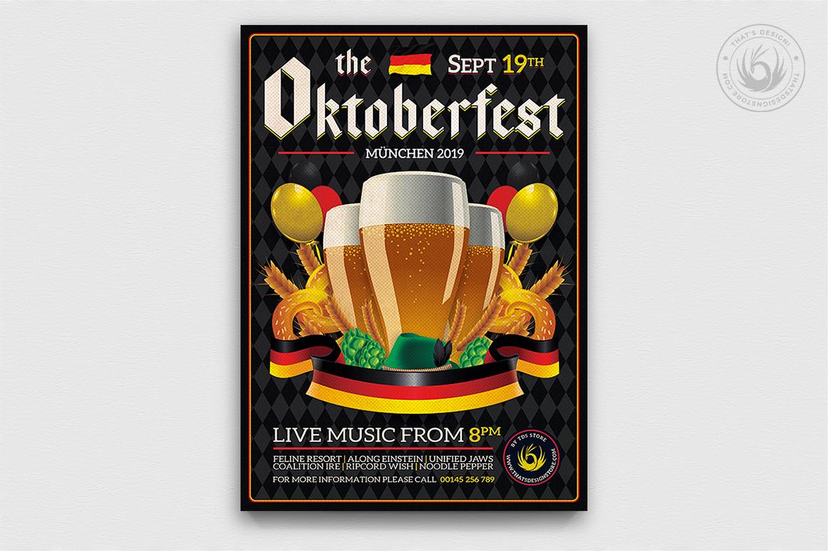 Beer Party Oktoberfest Flyer PSD Template design V12