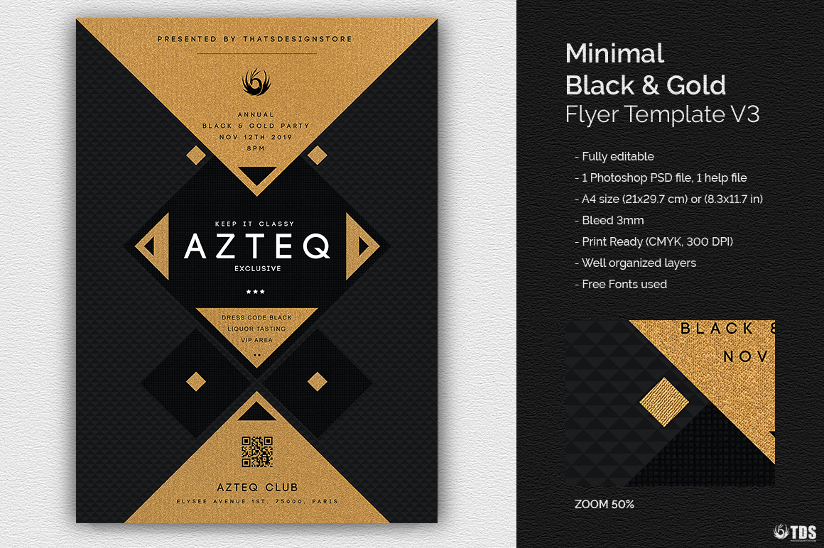 Minimal Black & Gold Flyer Template PSD download V3, cigare lounge, luxury event