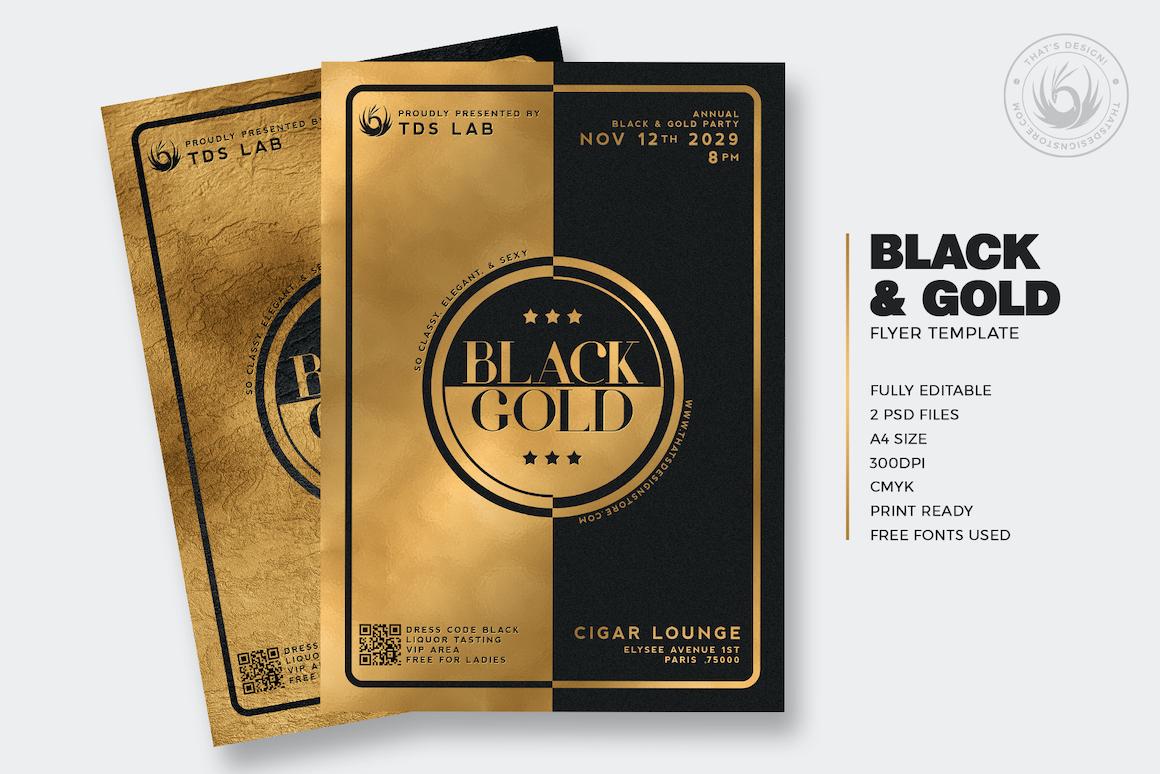 minimal black  u0026 gold flyer template v4