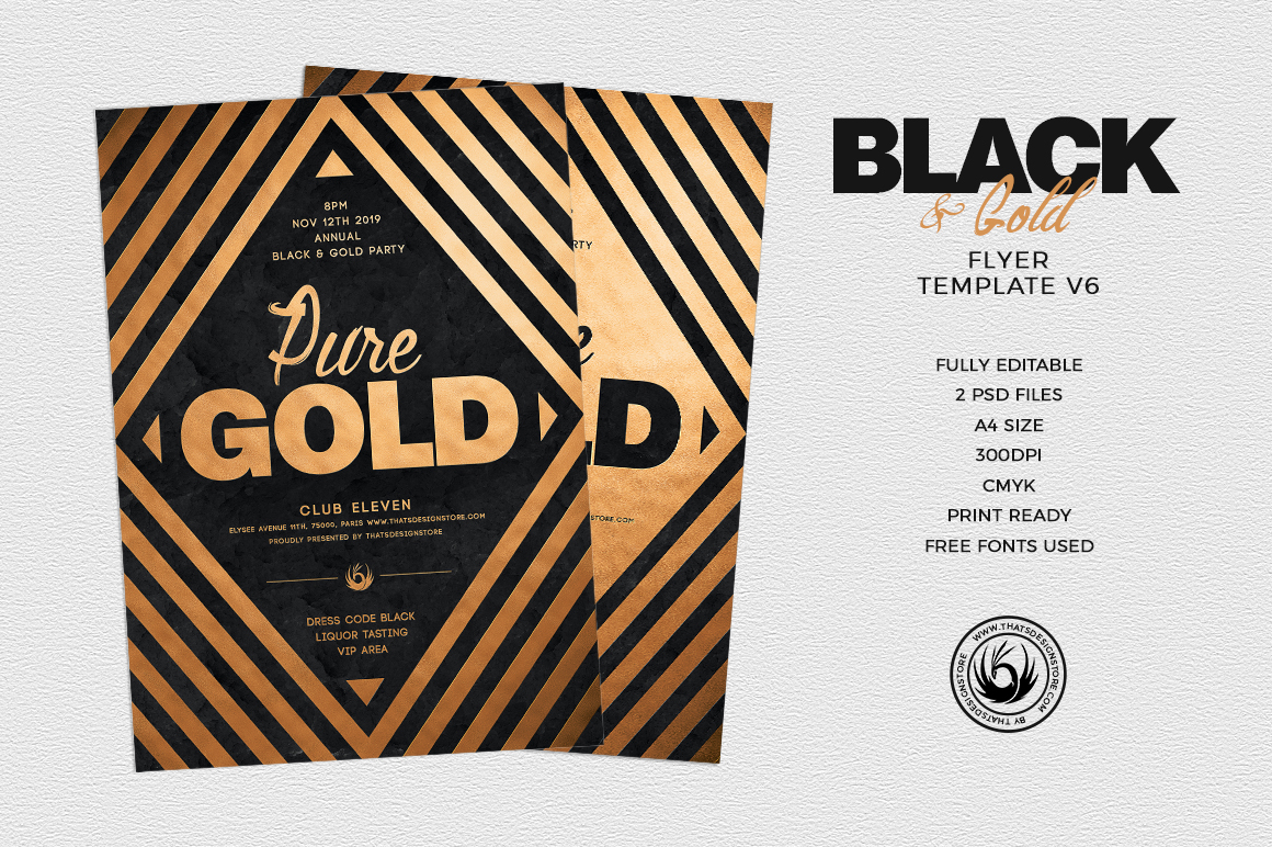 Minimal Black & Gold Flyer Template PSD download V6, cigare lounge, luxury event