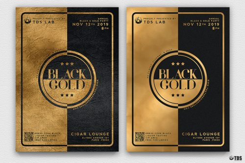 Minimal Black & Gold Flyer Template PSD download V4, cigare lounge, luxury event