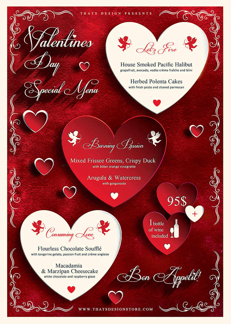 Valentine's Day Menu Flyer Template Psd Design V1