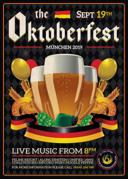 Beer Party Oktoberfest Flyer PSD Template design V12 and Create amazing beer party flyers for your bar to download.