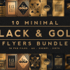 10 Minimal Black and Gold Flyers Bundle