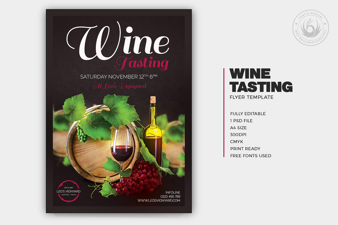 Wine Tasting Flyer Template, french afterwork psd download. Happy hour, drinks cocktails