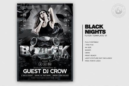 Black Night Flyer Template PSD download V1