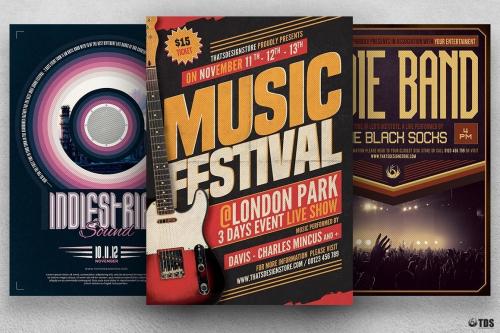 Gig Concert Flyer Bundle to promote an Indie Rock Band, Dubstep, Pop Rock, Urban music band event, Gig, Alternative Music, Jazz Festival, Unplugged concert