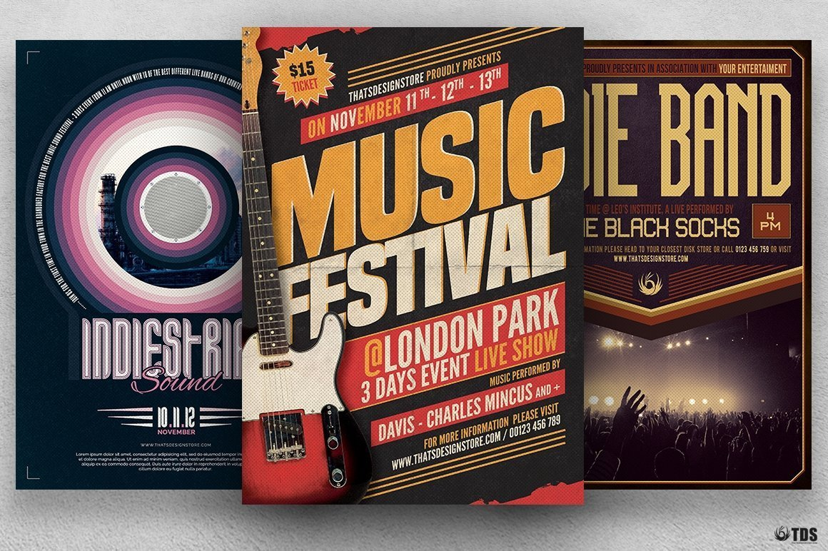 Gig Concert Flyer Bundle to promote an Indie Rock Band, Dubstep, Pop Rock, Urban music band event, Gig, Alternative Music, Jazz Festival, Unplugged concert