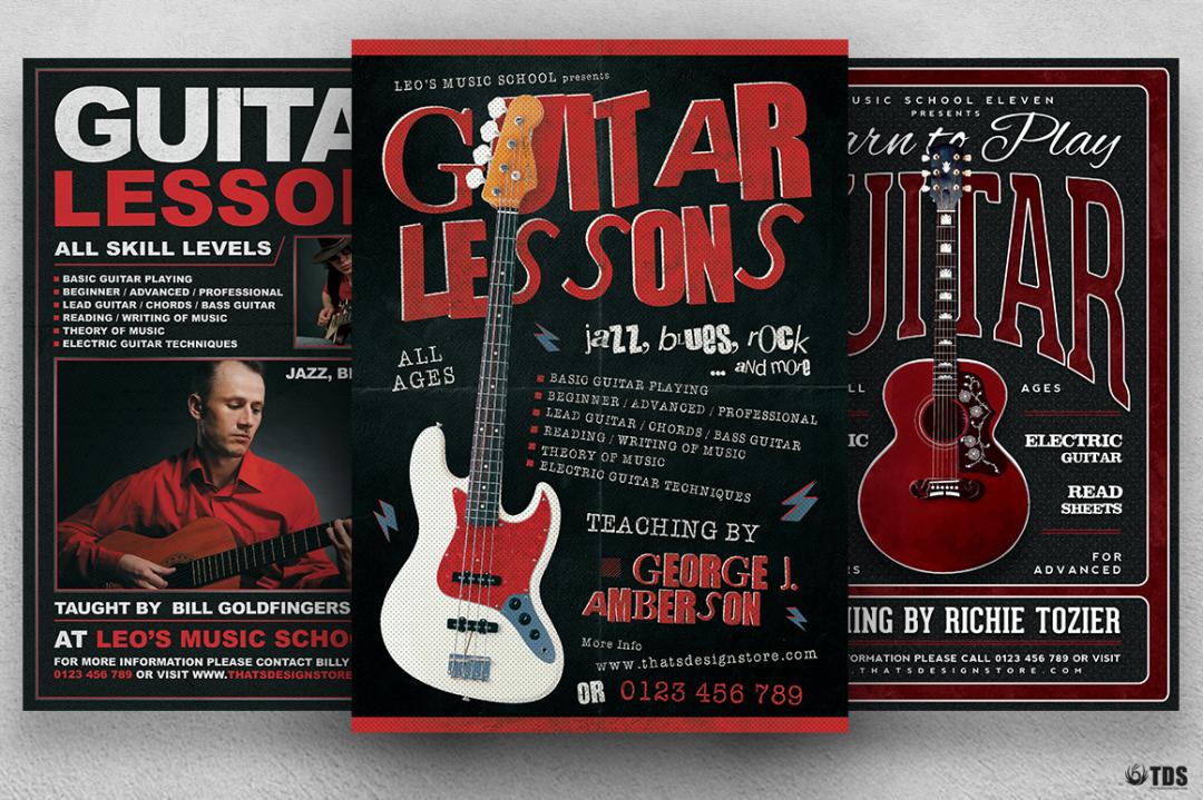 Guitar Lessons Flyer Bundle