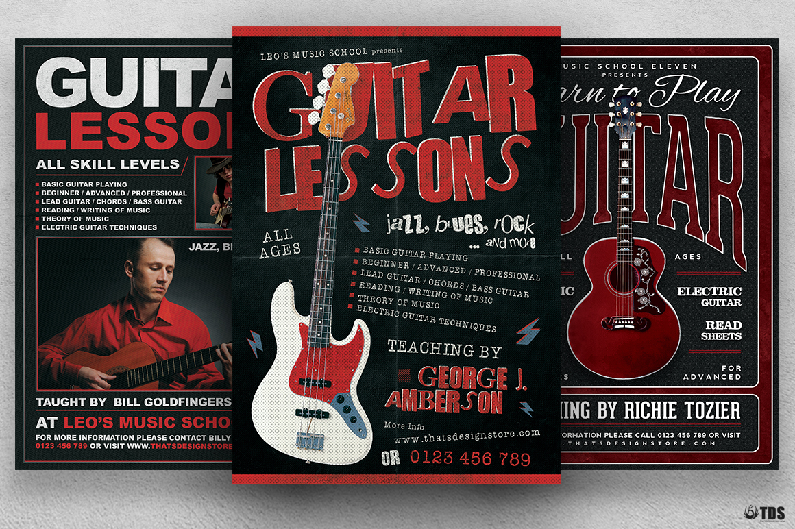 Guitar Lessons PSD Flyer Templates Bundle