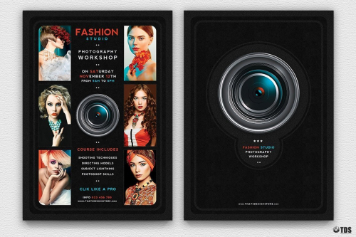 Photography Workshop Flyer Template Psd, Photo Studio, photoshoot, photo booth, photographer