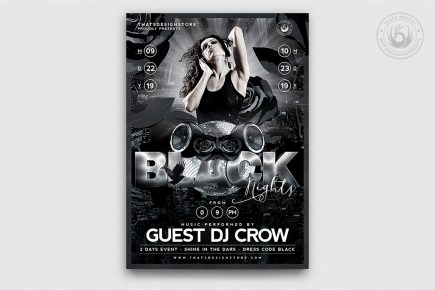 Black Night Flyer Template PSD download V1