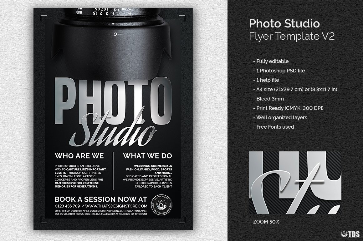 Photo Studio Flyer Template psd download V2, photoshoot, photo booth, photography, photographer