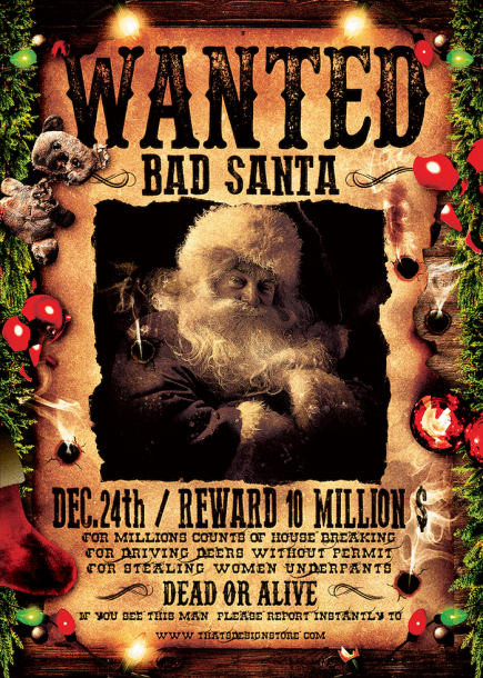 Wanted Bad Santa Flyer Template, Wanted flyers farwest Western music template, rodeo bike cowboy in a coyote bar