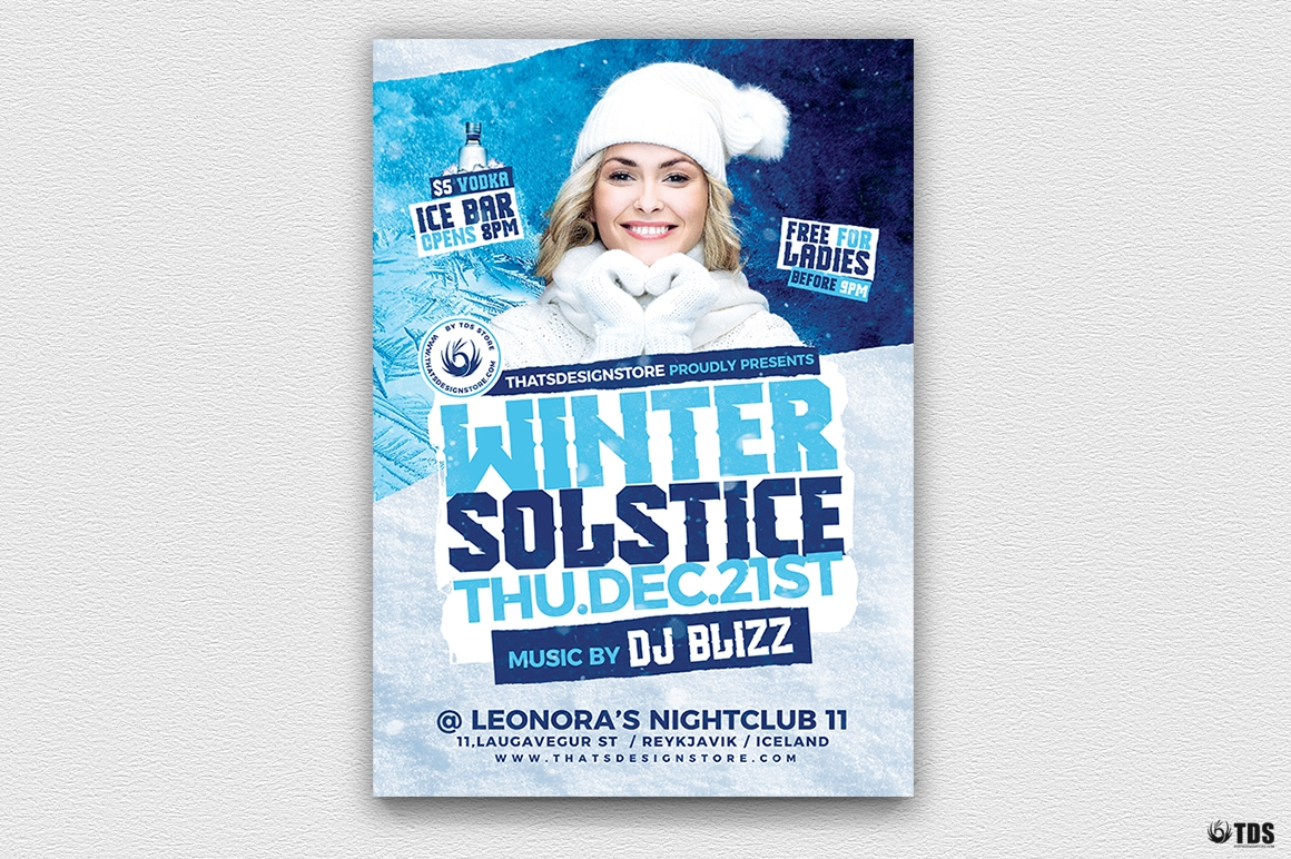 Winter Solstice Flyer Template PSD V4
