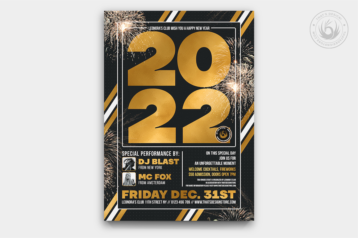 New year's eve flyer template psd to customize with phostohop
