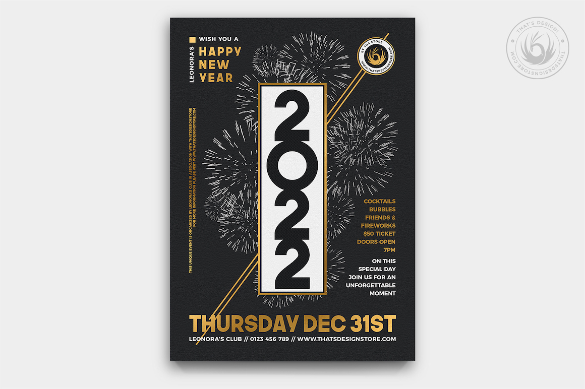 New Year Eve Flyer PSD Template Design 7