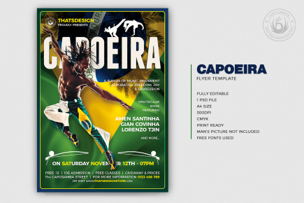 Capoeira Flyer Template PSD design for Photoshop