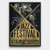 Golden Jazz Posters Flyers psd Template for jazzy blues live Band Concert or festival, editable photoshop