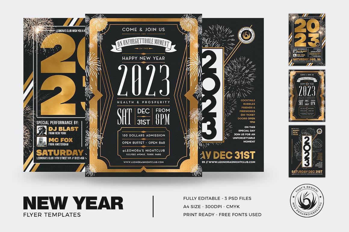 New Year Flyer Templates Bundle V2
