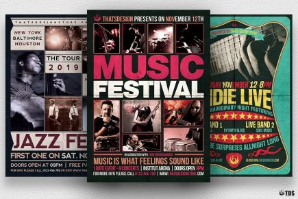 Download Concert Flyer Templates for Music or Jazz Festival or any Indie music live band