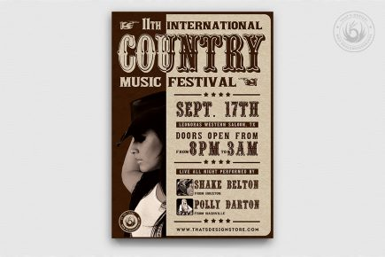 Country Live Flyer Template PSD download V7, Wanted flyers farwest Western music template, rodeo bike cowboy in a coyote bar