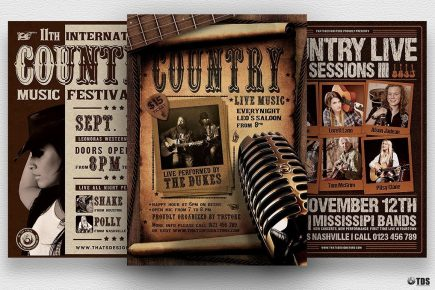 Country Music Flyer Bundle, Wanted flyers farwest Western template, rodeo bike cowboy in a coyote bar