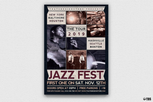 Jazz Fest Flyer Template PSD printable customizable in photoshop, Poster Psd design